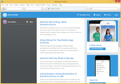 Screenshot of Xamarin Studio 5.0 welcome page